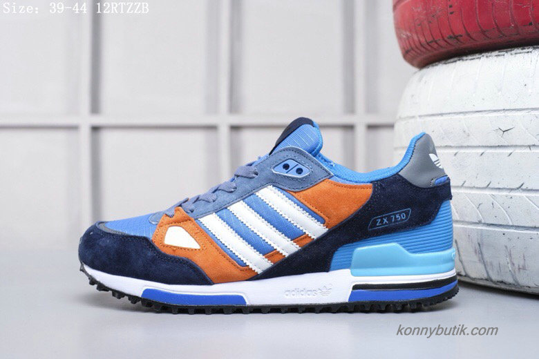 2019 Adidas Originals ZX750 Suede Herre Sko Blå / Orange / Hvid