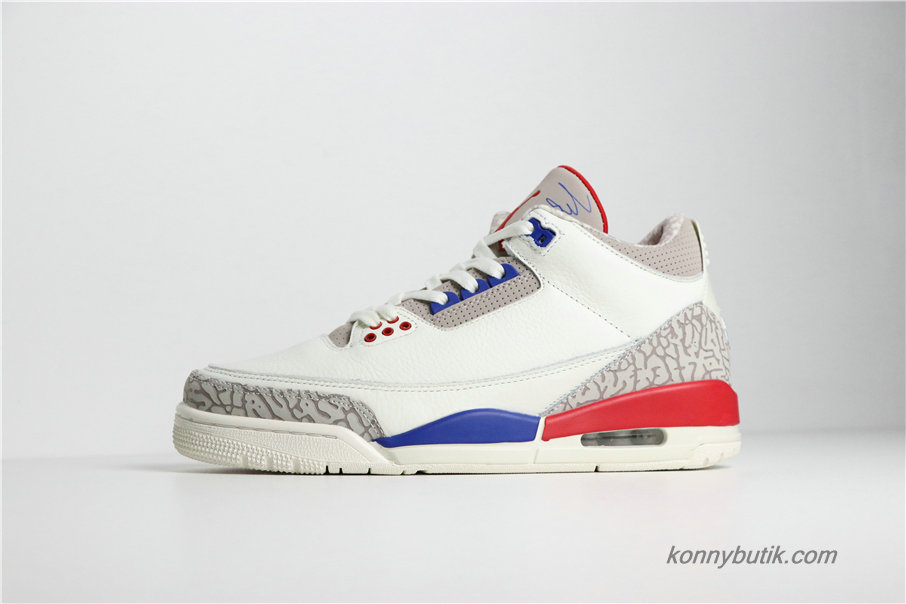 Air Jordan 3 Retro International Flight AJ3 Herre Sko Off Hvid / Grå / Blå / Rød (136064-140)