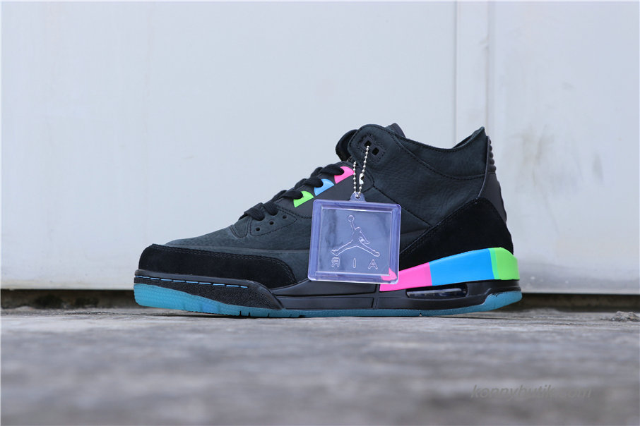 Air Jordan 3 Retro SE Quai 54 AJ3 Herre Sko Mørkeblå / Sort (AT9195-001)