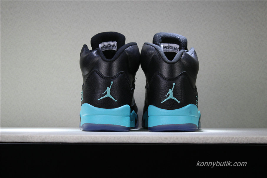 Air Jordan 5 Retro AJ5 Herre Sko Sort / Lyseblå (845035-003)