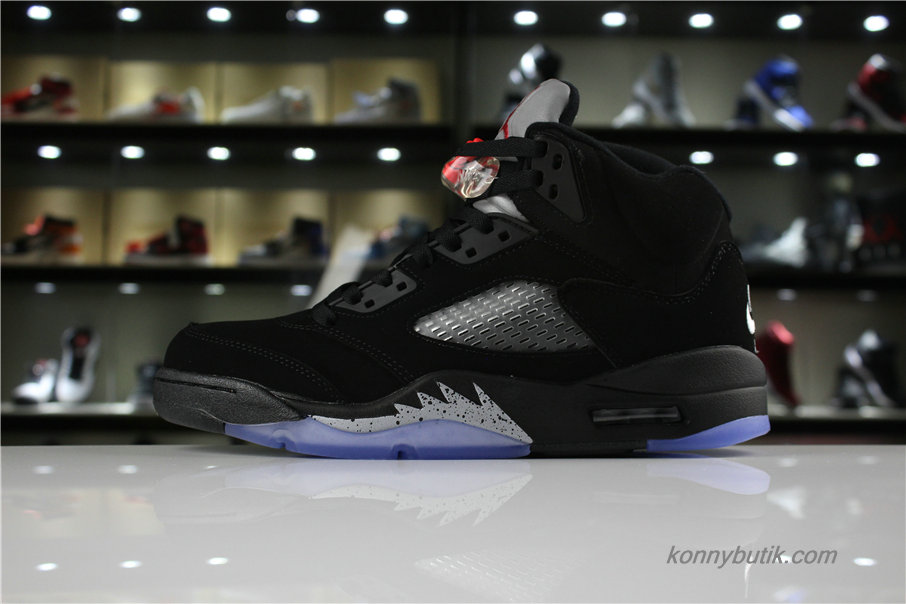 Air Jordan 5 Retro OG AJ5 Herre Sko Sort / Sølv (845035-003)