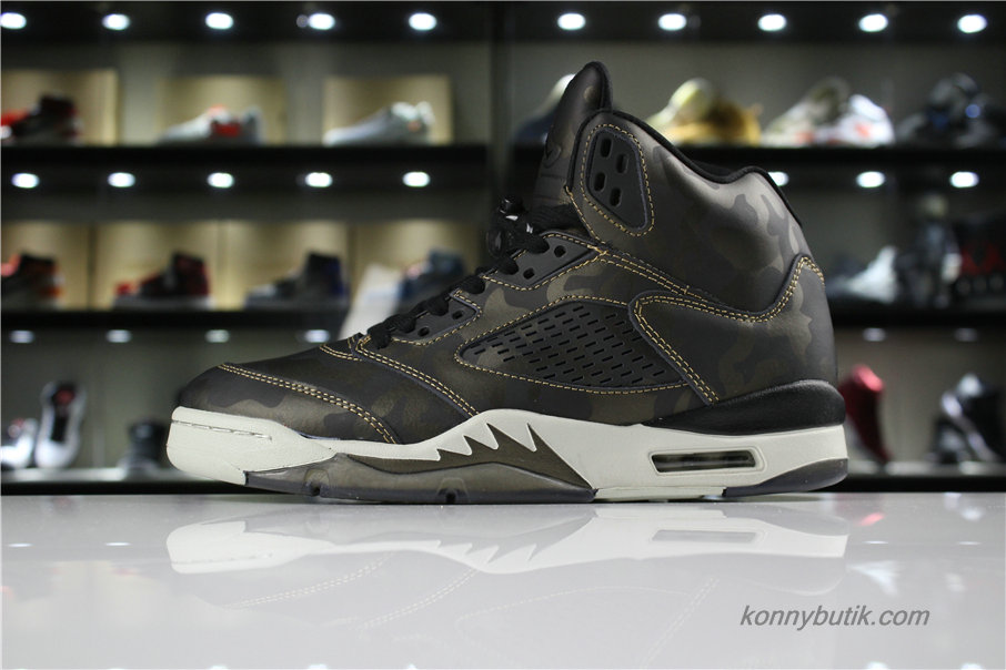 Air Jordan 5 Retro Premium Heiress AJ5 Herre Sko Sort / Oliven / Hvid (919710-030)