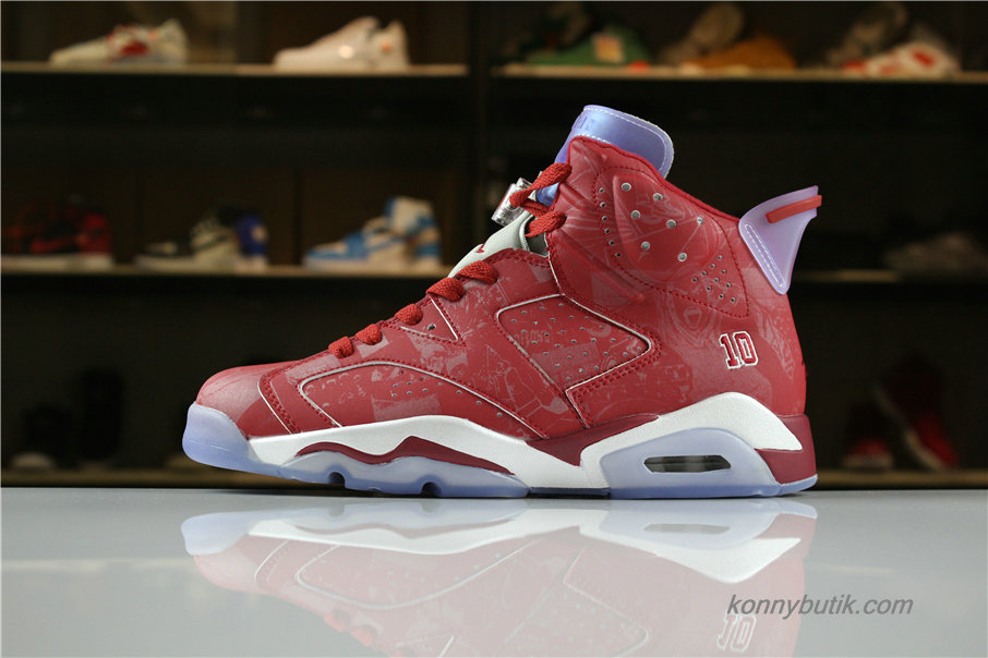 Air Jordan 6 Retro SLAM DUNK AJ6 Herre Sko Rød (717302-600)