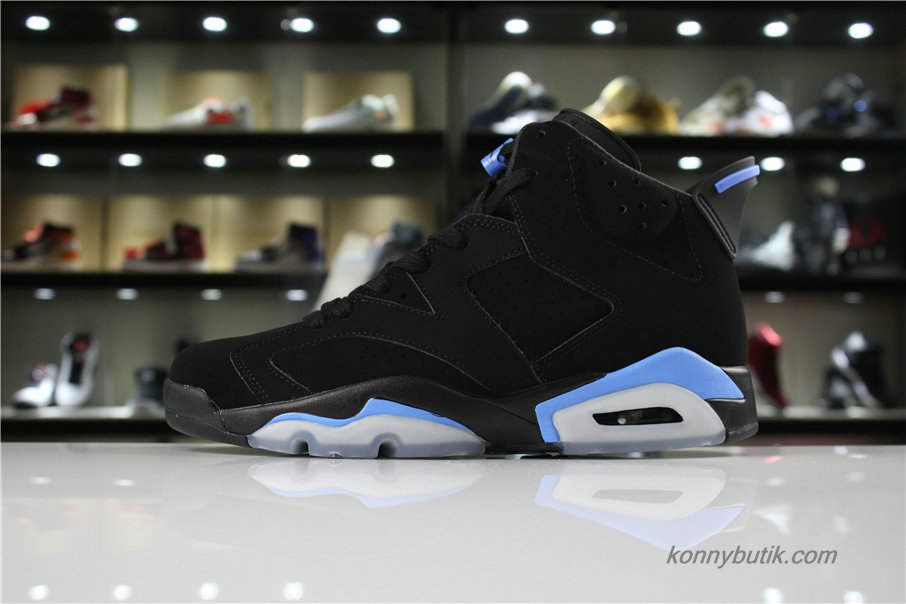 Air Jordan 6 Retro UNC AJ6 Herre Sko Sort / Blå (384664-006)