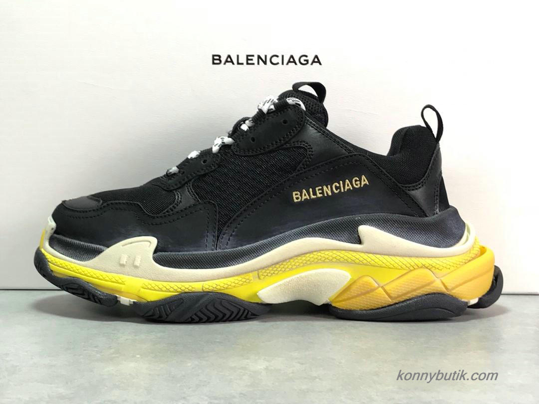2019 Balenciaga Triple S Herre Sko Sort / Off-White / Gul