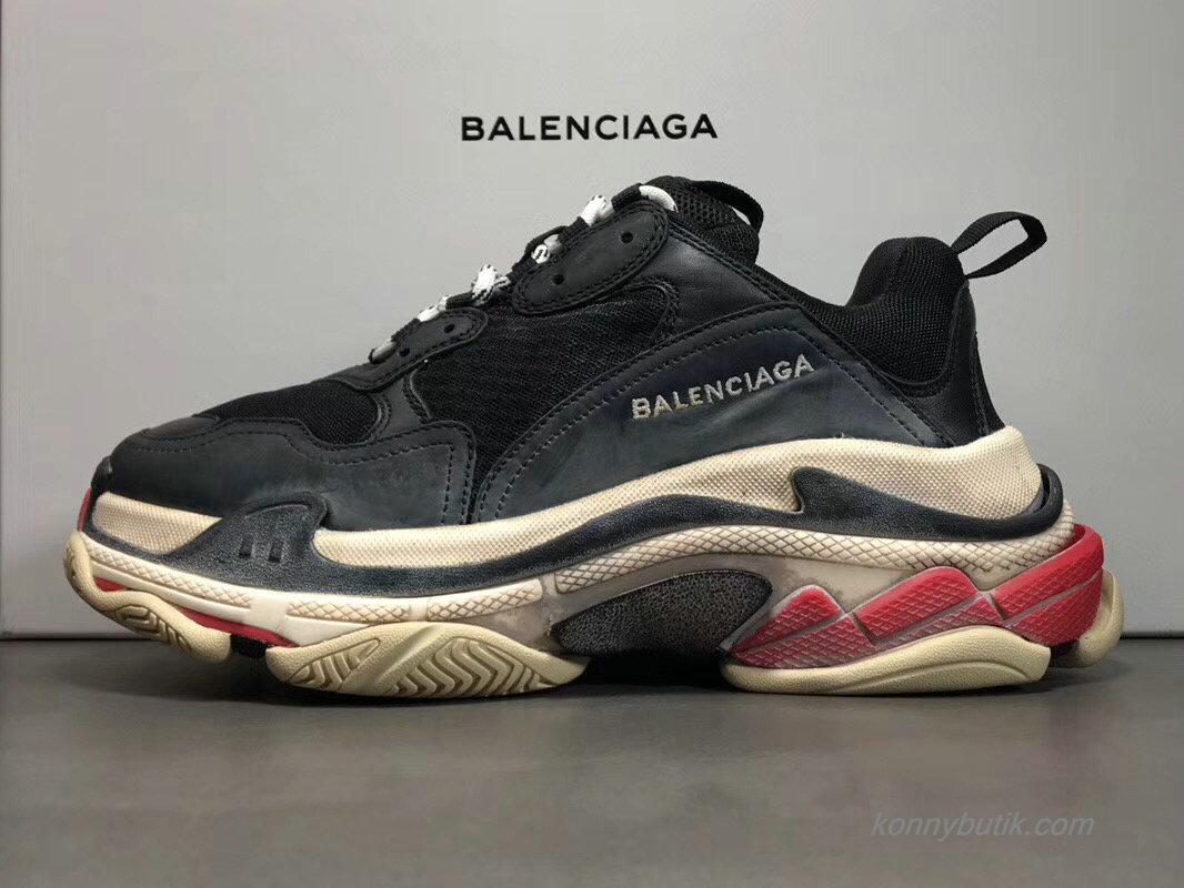 2019 Balenciaga Triple S Unisex Sko Sort / Off-White / Rød (490672)