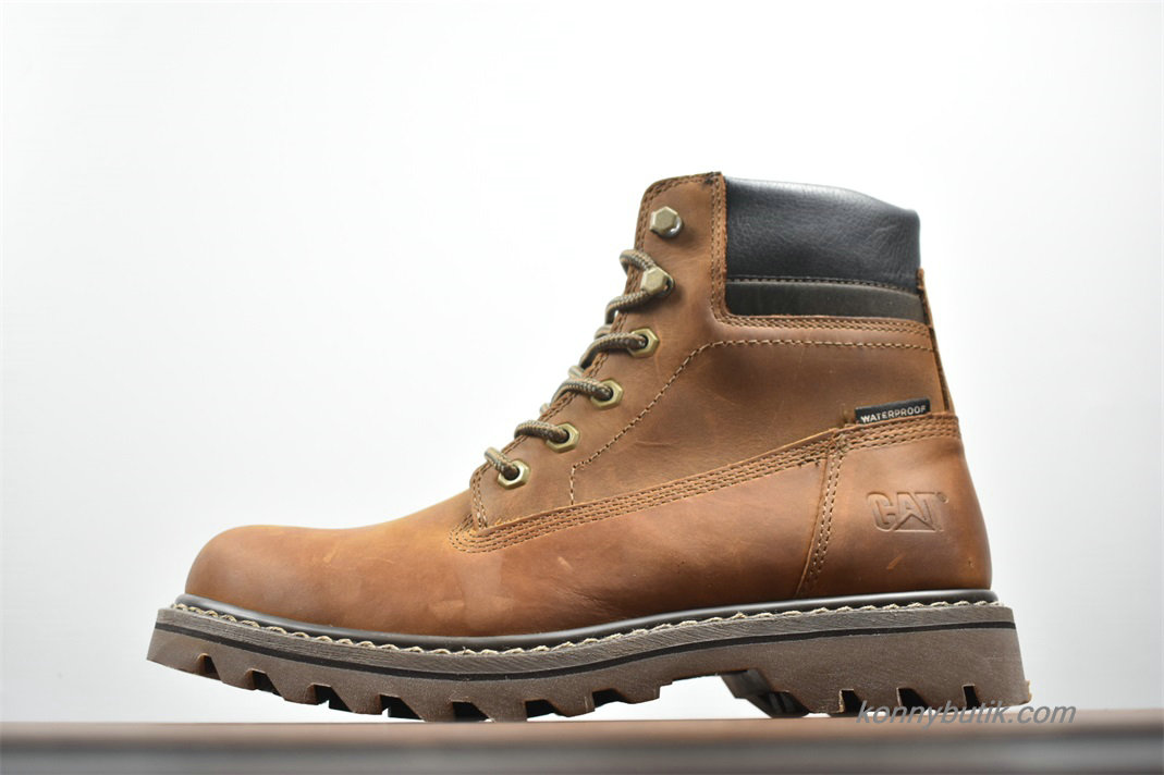2019 Caterpillar High Top Vandtæt Herre Støvler Maroon / Sort