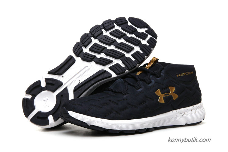 2019 Under Armour Charged Reactor Run Herre Sko Marine blå / Guld