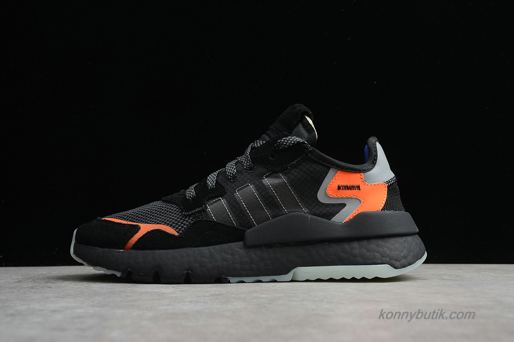 Adidas Nite Jogger 2019 Boost 3M Unisex Sko Sort / Orange / Grå (CG7088)