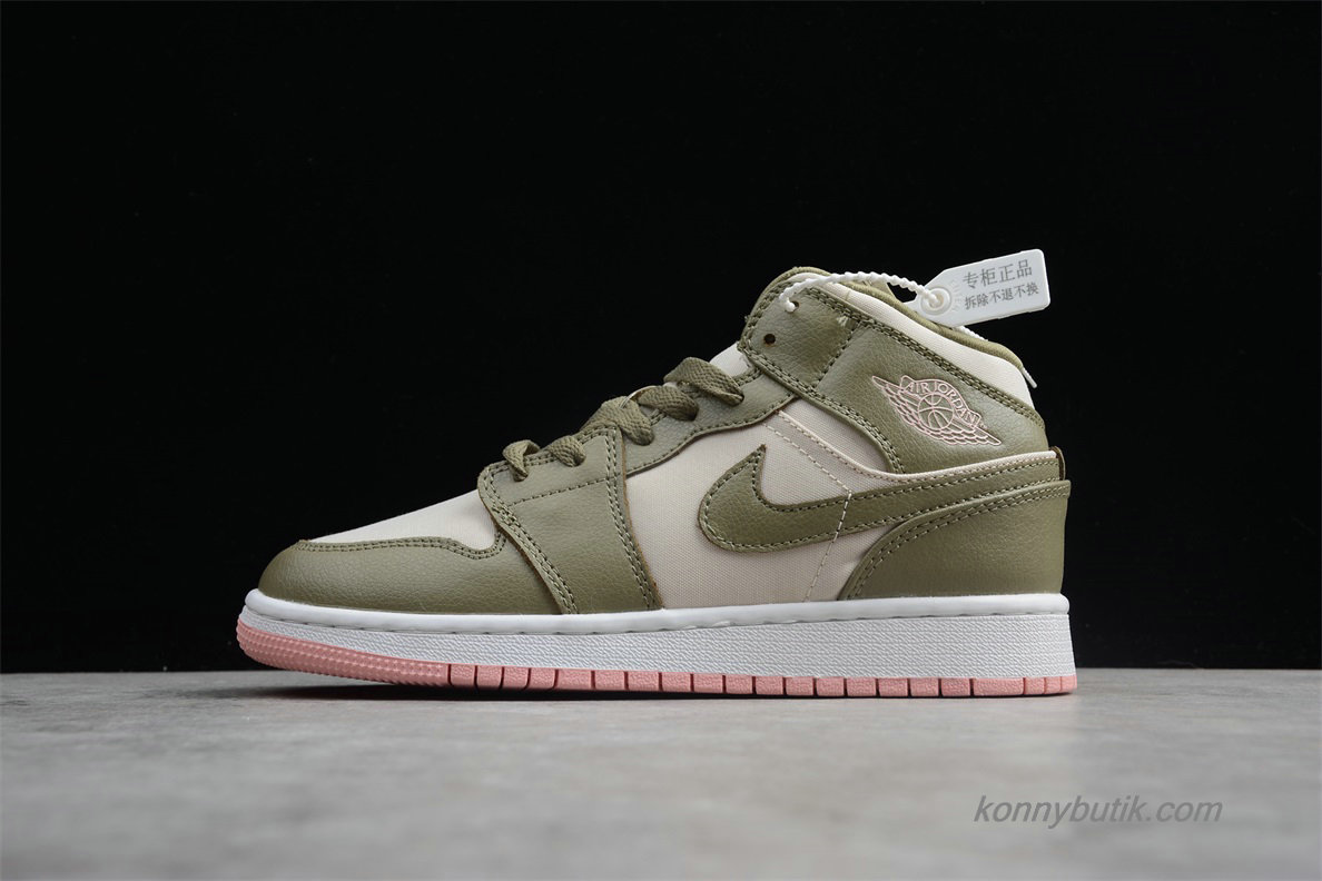 Air Jordan 1 Retro MID GG AJ1 Dame Sko Oliven / Off-White (555112-225)
