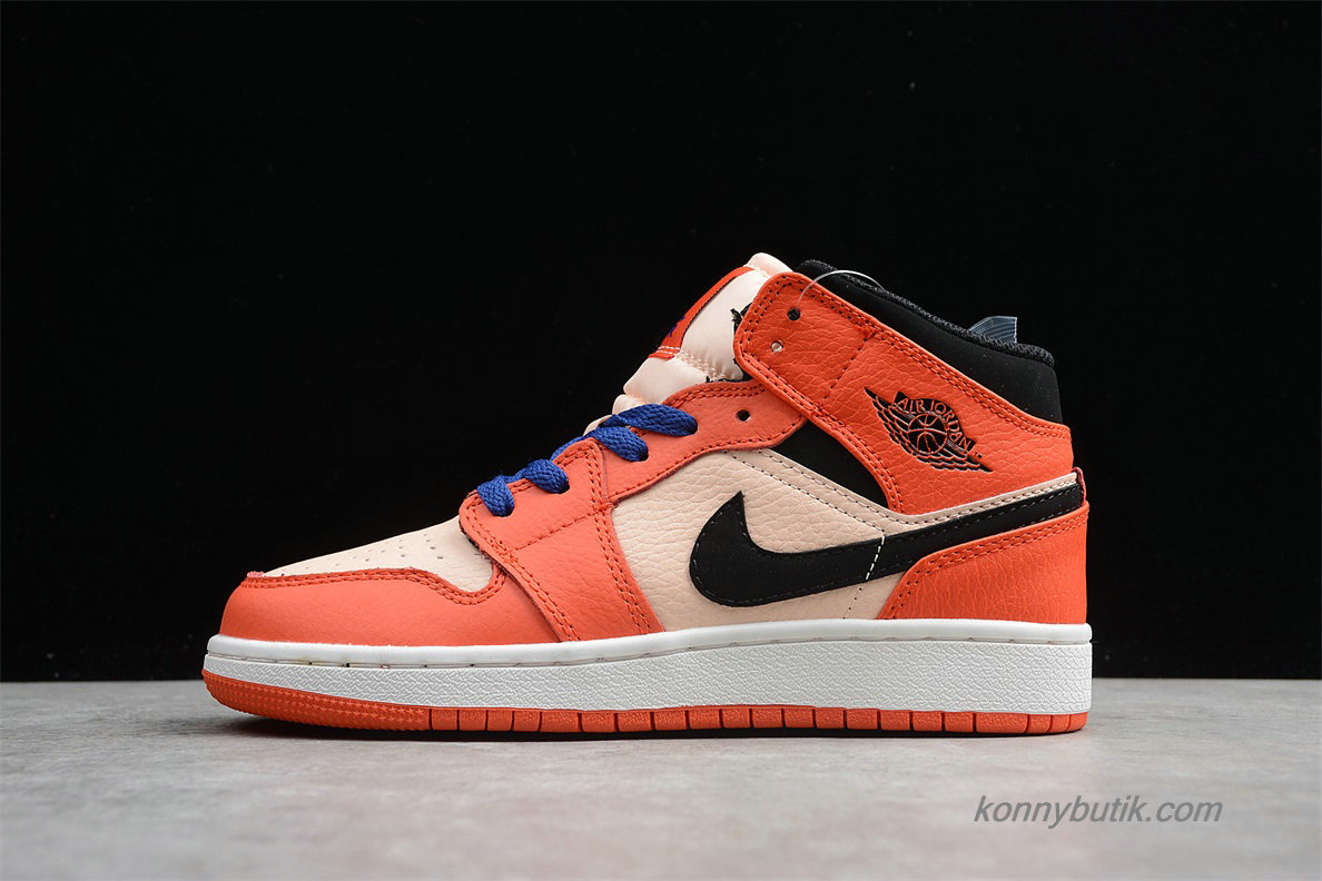 Air Jordan 1 Retro MID GS AJ1 Dame Sko Orange / Lyserød / Sort (BQ6931-800)