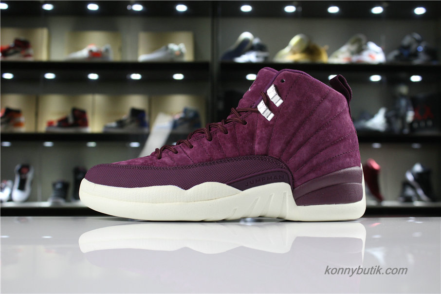 Air Jordan 12 Retro Suede AJ12 Herre Sko Bordeaux (130690-617)