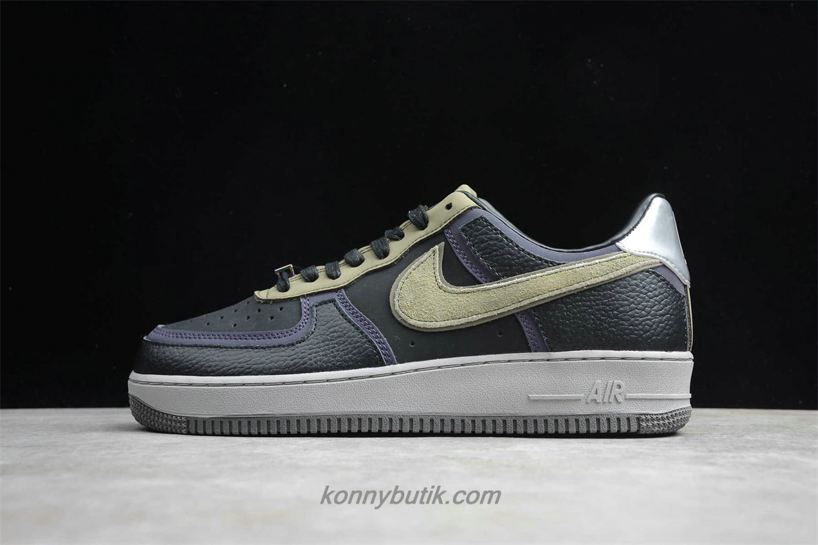Nike Air Force 1 07 Herre Sko Sort / Lilla / Khaki (CQ1087 001)
