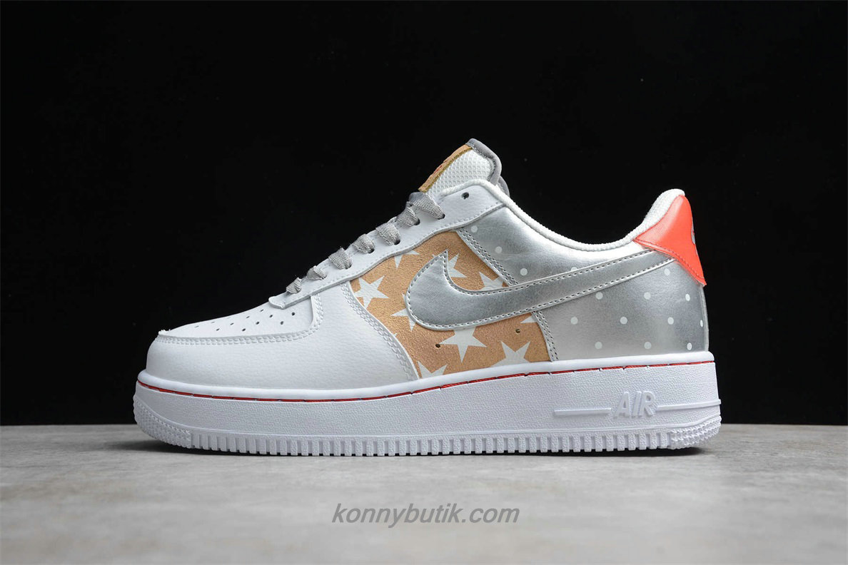 Nike Air Force 1 07 PRM 2 Unisex Sko Hvid / Sølv / Orange (CT3437 100)