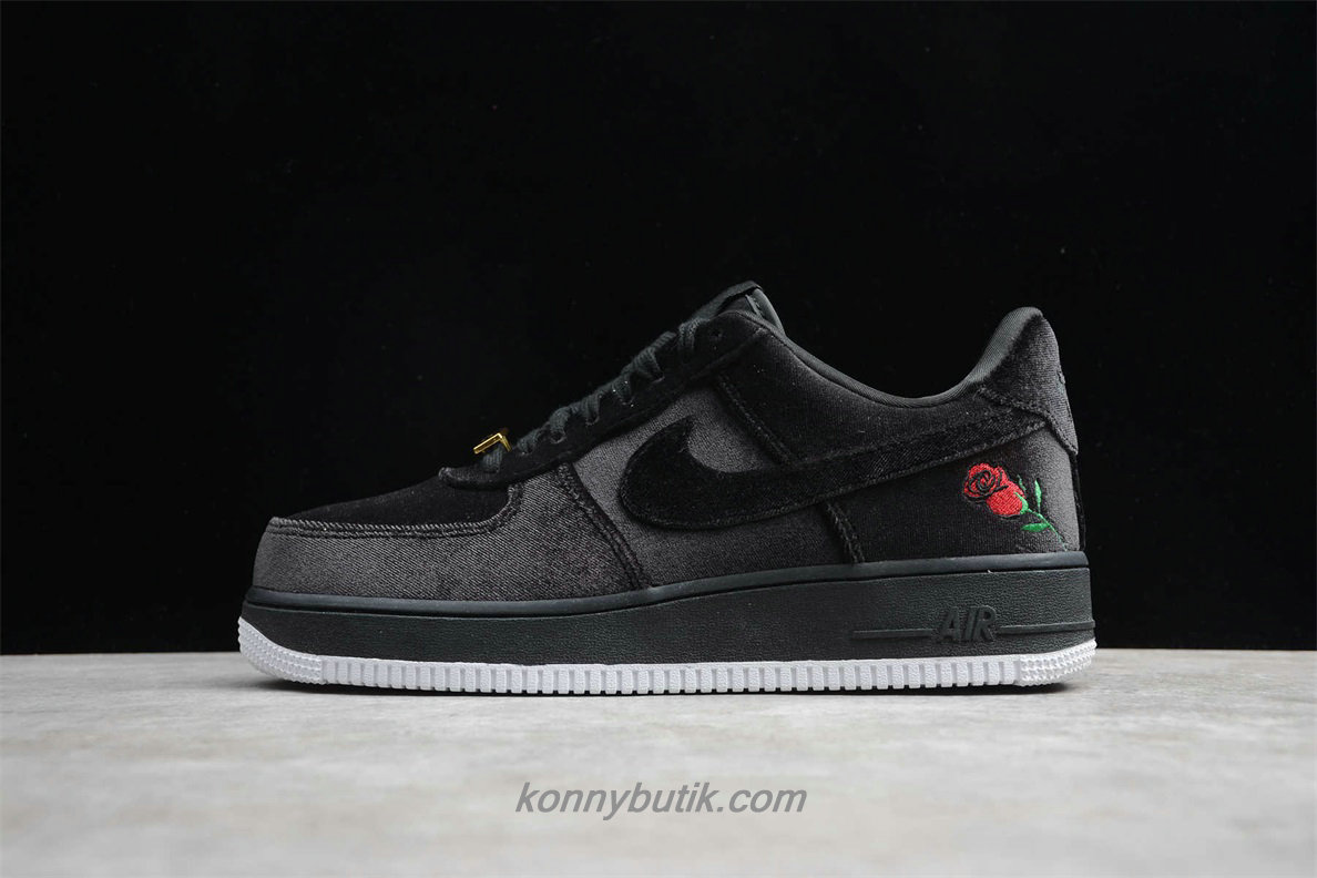 Nike Air Force 1 07 QS Unisex Sko Sort / Grå (AH8462 003)