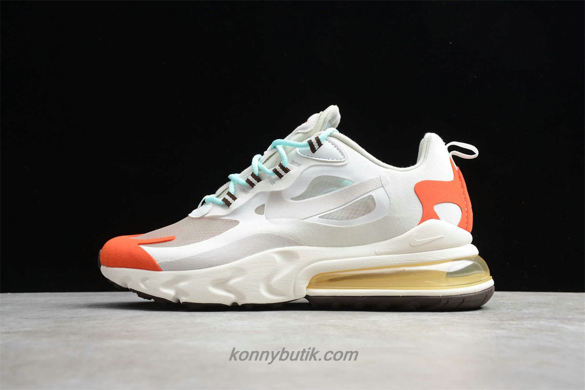 Nike Air Max 270 React Unisex Sko Hvid / Sand / Orange (AO4971 200)