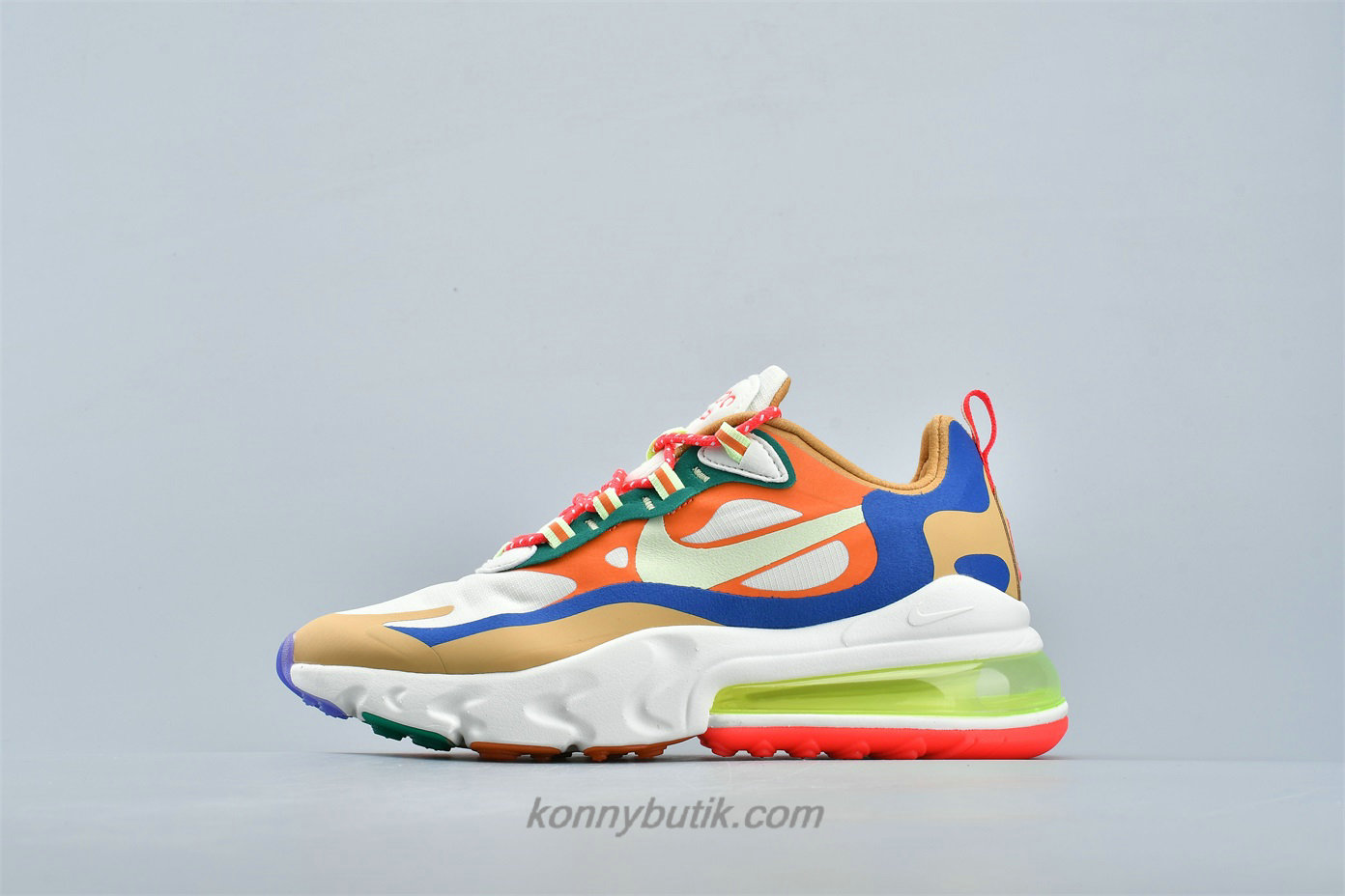 Nike Air Max 270 React Dame Sko Fløde / Khaki / Orange / Blå (CQ4805 071)