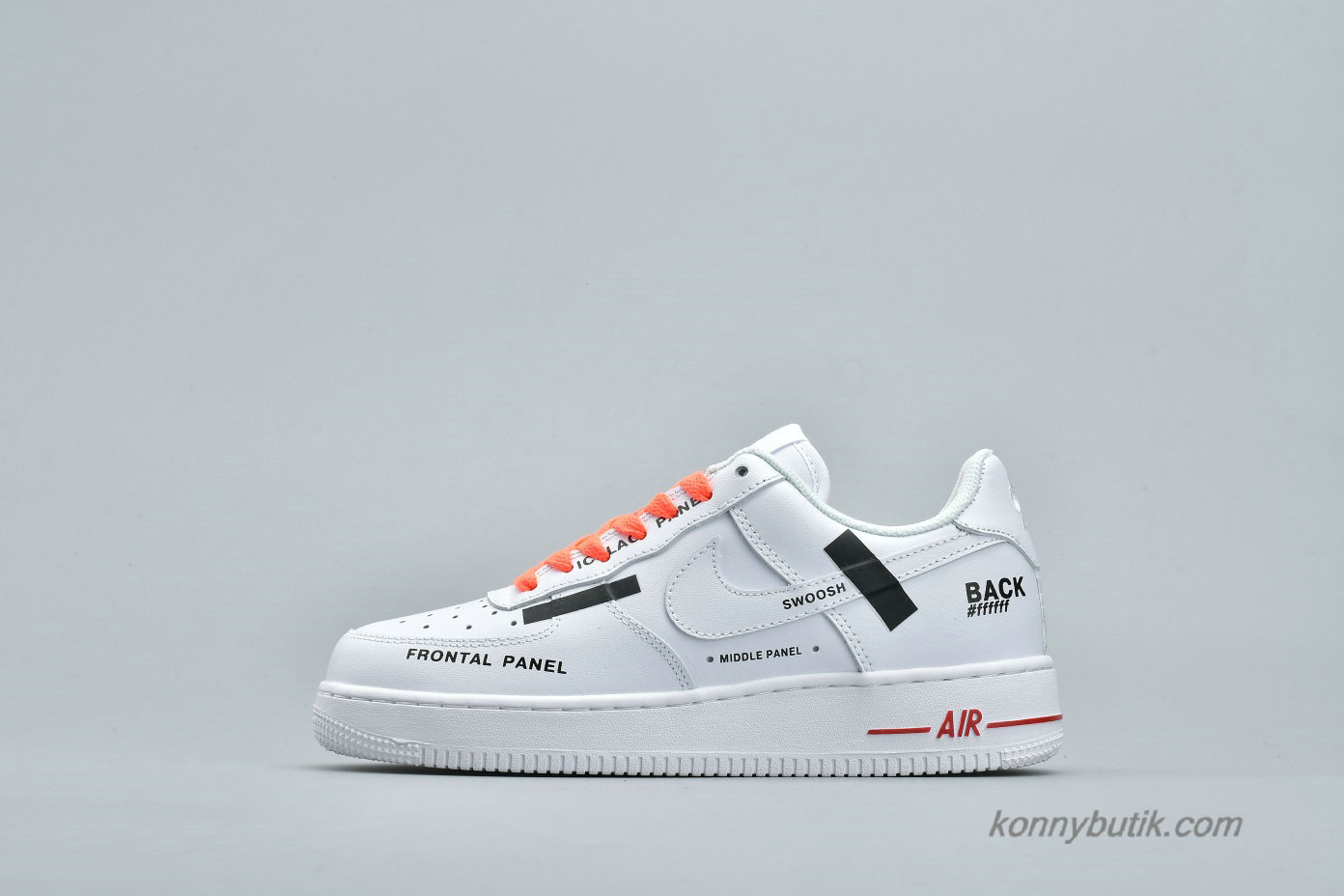 Nike Air Force 1 Low Unisex Sko Hvid / Sort / Orange (AR7720-101)