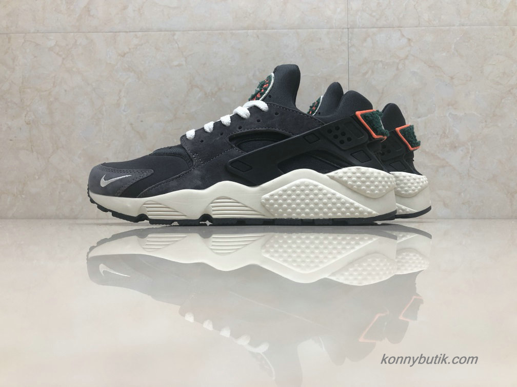 Nike Air Huarache Run Premium Unisex Sko Sort / Hvid / Orange (AA0524-015)