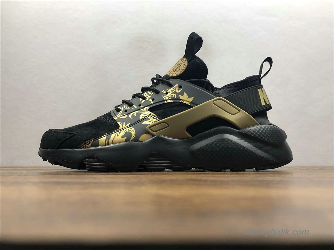 Nike Air Huarache Run Ultra Unisex Sko Sort / Guld (829669-661)
