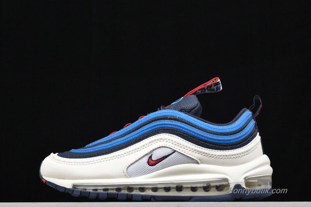 2019 Nike Air Max 97 Unisex Sko Blå / Off-White / Rød
