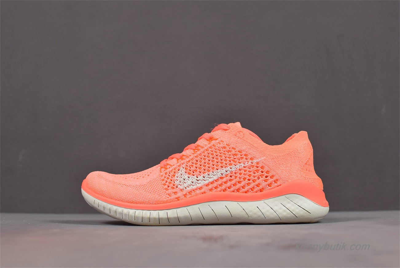 Nike Free Flyknit 2018 Barefoot Dame Sko Orange / Off-White (942839-801)