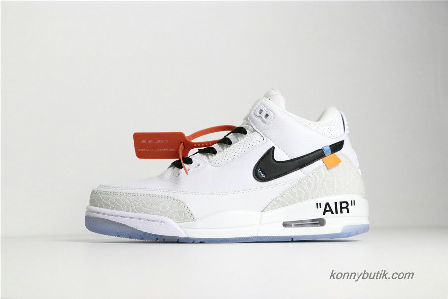 Off-White x Air Jordan 3 Retro AJ3 Herre Sko Hvid / Grå / Sort (136064-111)