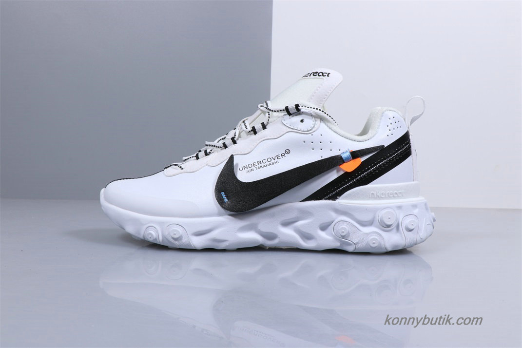 Undercover Off-White x Nike React Element 87 Herre Sko Hvid / Sort (BQ6166-001)