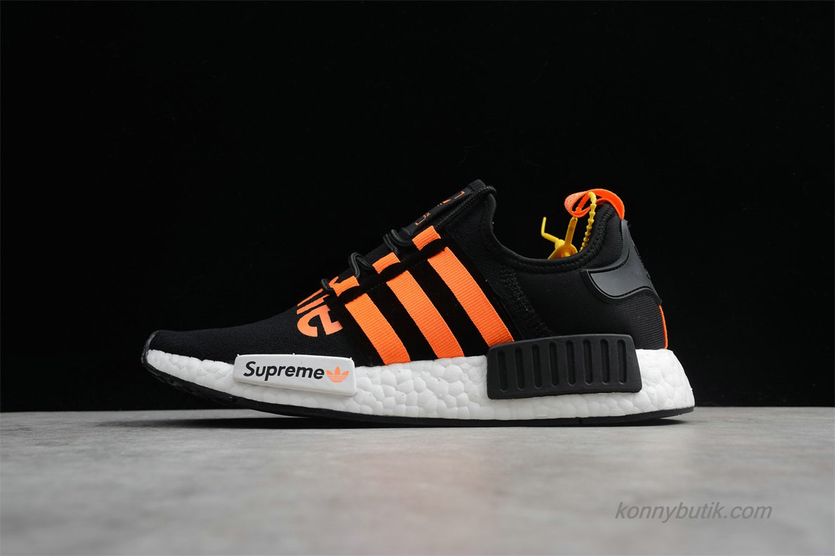 Supreme x Adidas Originals NMD R1 Unisex Sko Sort / Orange / Hvid (DA8867)